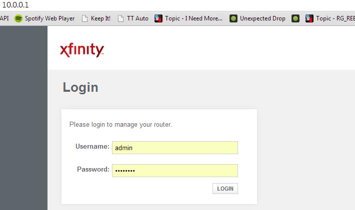 Xfinity Router Login 10.0.0.1